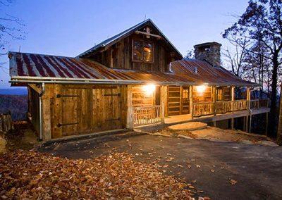 Full cabin exterior at dusk