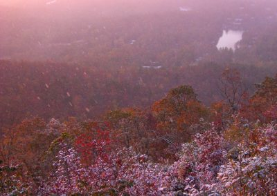 Pink autumn sunrise snow