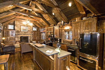 High End Kitchen Appliances Set In Antique Wood Bring Together The Old And The New