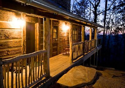 Cabin exterior at dusk.
